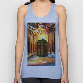 Tardis in the Forest Unisex Tank Top