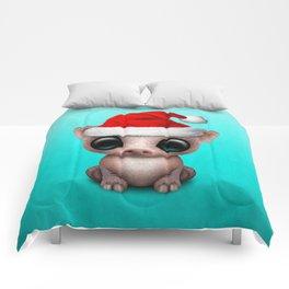 Christmas Pig Wearing a Santa Hat Comforters