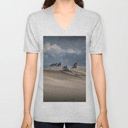 Waiting Gulls on Top of A Sand Dune Unisex V-Neck