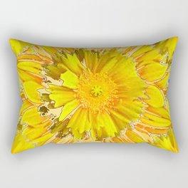DECORATIVE BLUE & YELLOW FLORAL MODERN ART Rectangular Pillow