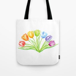 Rainbow Tulips, Spring Flowers Tote Bag
