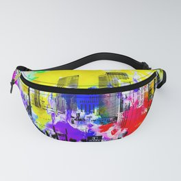 building of the hotel and casino at Las Vegas, USA with blue yellow red green purple painting abstra Fanny Pack