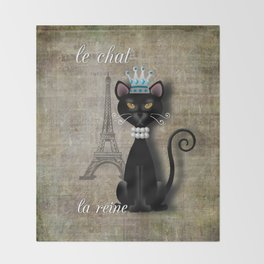 Le Chat, La Reine - The Cat, The Queen Throw Blanket
