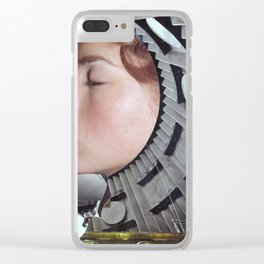 Ground Control  - Vintage Space Astronaut Collage Clear iPhone Case