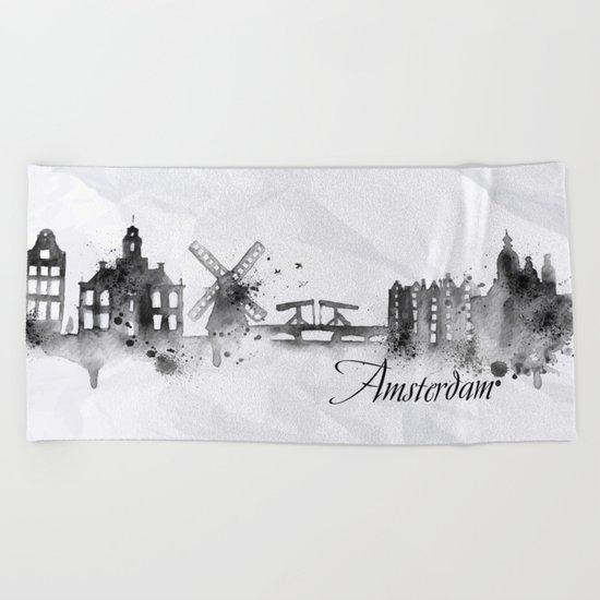 White Amsterdam Skyline Beach Towel