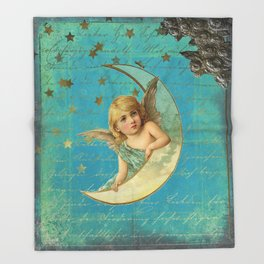 Vintage-Shabby-chic- Beautiful Christmas angel on aqua background Throw Blanket