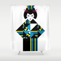 geisha Shower Curtains featuring GEISHA by Oscar Odd Diodoro
