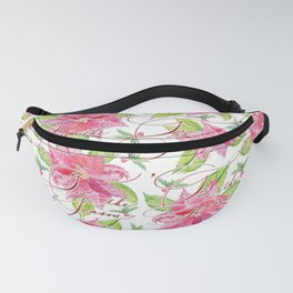 'Tis the Season for Poinsettias and Mistletoes in White Background Fanny Pack