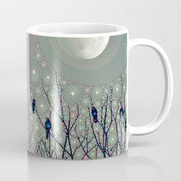 A Dawning with black birds lights on bare branches stars and gibbous moon  Coffee Mug
