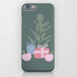 Christmas Tree and Gifts abstract drawing. Mid century modern Boho composition iPhone Case