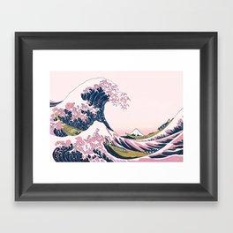 The Great Pink Wave off Kanagawa Framed Art Print