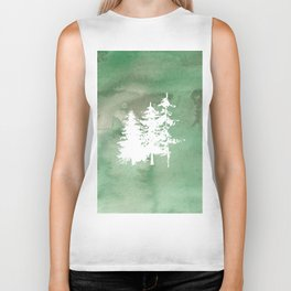 Hand painted forest green white watercolor pine trees Biker Tank