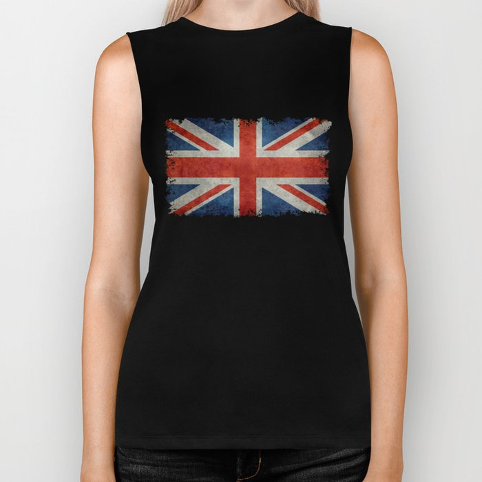 "UK Union Jack flag ""Bright"" retro grungy style Biker Tank"