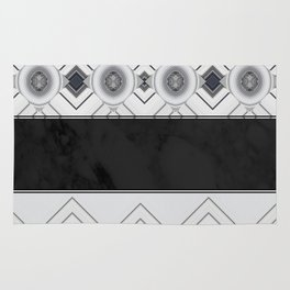 Modern Black and White Marble Geo Pattern Rug