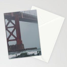 Surfers under Golden Gate Bridge Stationery Cards
