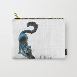 Black Blue Cat Stretching Drawing  Carry-All Pouch