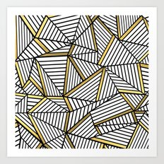 Ab Lines 2 White Gold Art Print