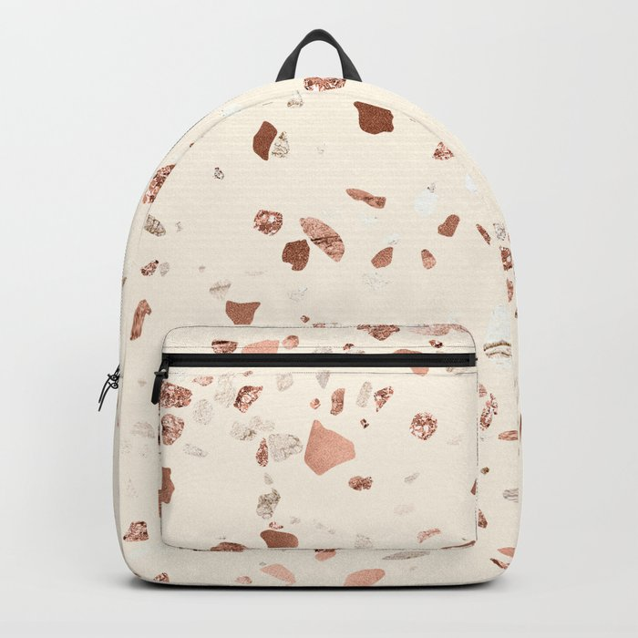 Rose Gold and Cream Terrazzo Backpack