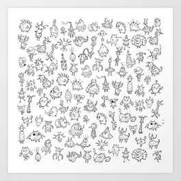Random creatures Art Print