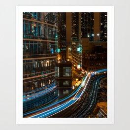 Subway Light Trails III Art Print