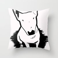 bull terrier Throw Pillows featuring bull terrier by sabrina.gennari
