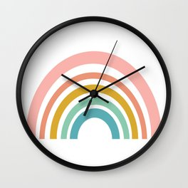 Simple Happy Rainbow Art Wall Clock