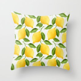 Watercolor Lemons Throw Pillow