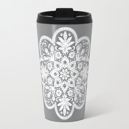 Floral Doily Pattern | Grey and White Travel Mug