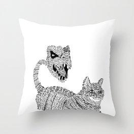 Cat / T-Rex : Happy / Not Happy Throw Pillow