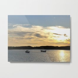 Sunset over Lancashire sea fishing boats  Metal Print