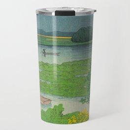 Kawase Hasui Vintage Japanese Woodblock Print Flooded Asian Rice Field Mountain Parallax Landscape Travel Mug