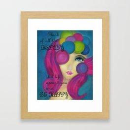 Blue Face Girl Framed Art Print