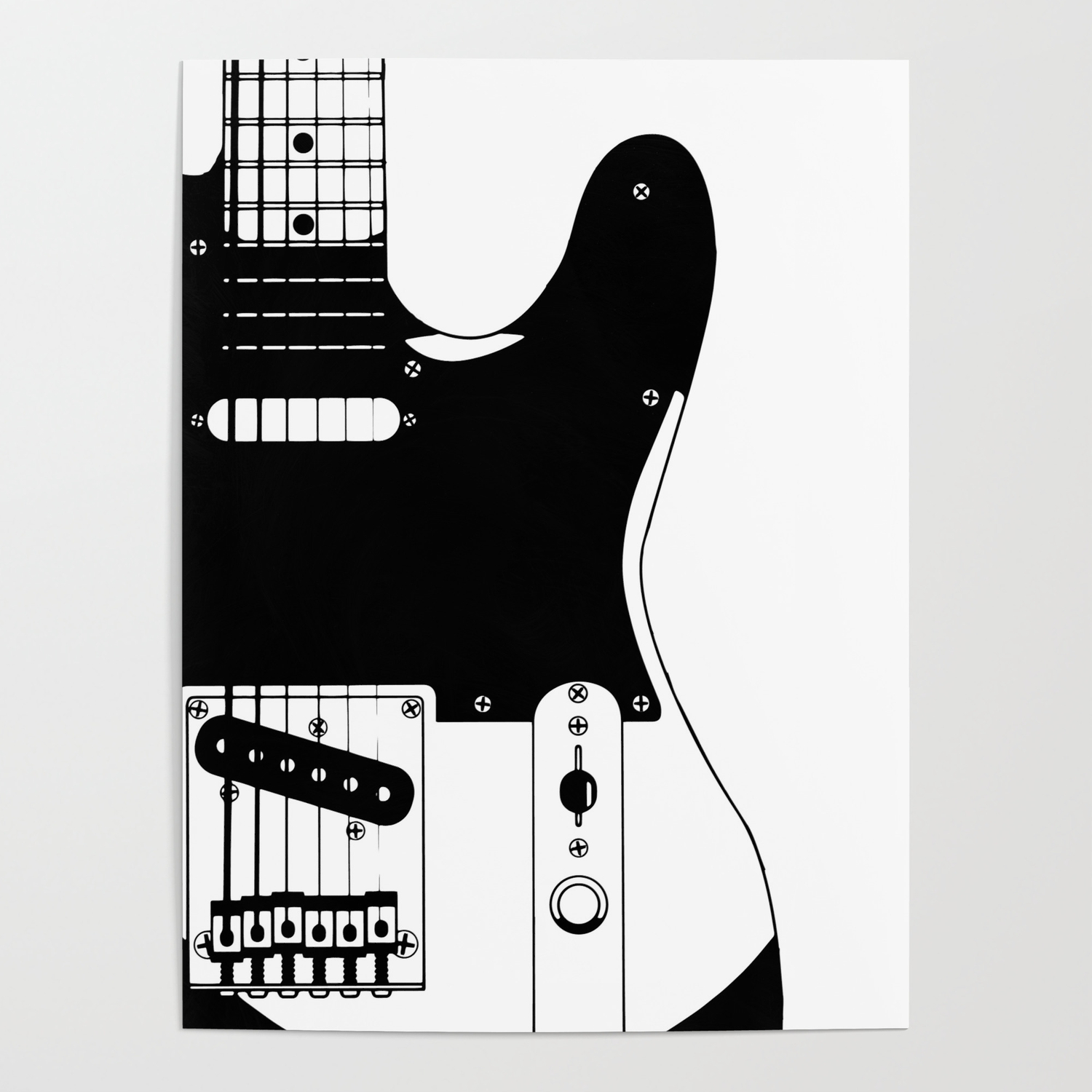 Electric Guitar Drawing Poster By Homestead Society6