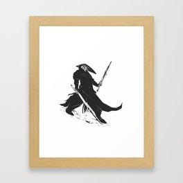 Samurai skull - japanese evil - black and white - fighter illustration - grim reaper cartoon Framed Art Print