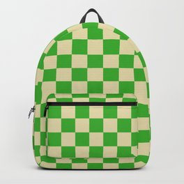 Psychedelic Checkerboard in Green and Cream Backpack