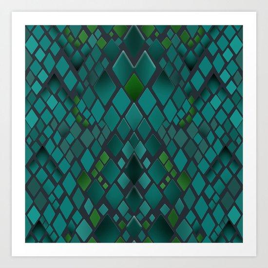 Digital graphics snake skin. Art Print