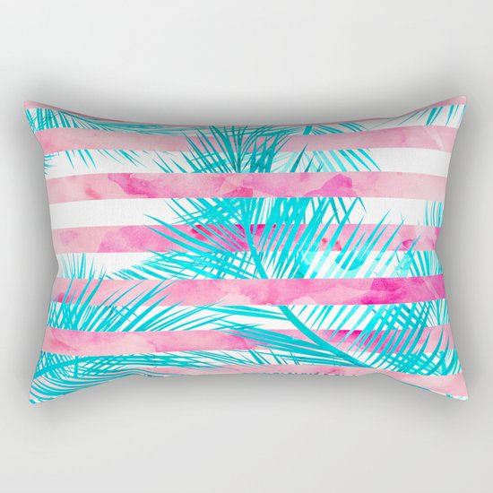 Modern pink turquoise tropical palm tree watercolor stripes pattern Rectangular Pillow