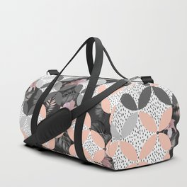 Mosaic pattern and exotic nocturnal bloom Duffle Bag