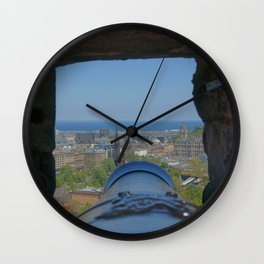 Edinburgh castle city view from Cannon pov (point of view ) Wall Clock
