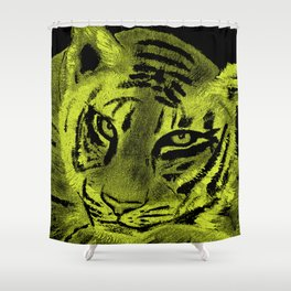 Tiger with Lime Background Shower Curtain
