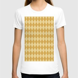 Abstract geometric ivory mustard yellow diamond autumn pattern T-shirt