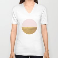rose gold V-neck T-shirts featuring Color Blocked Gold & Rose by Caitlin Workman