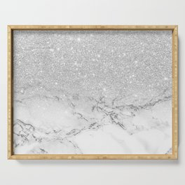 Modern faux grey silver glitter ombre white marble Serving Tray