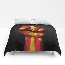 Macedonian Flag on a Raised Clenched Fist Comforters