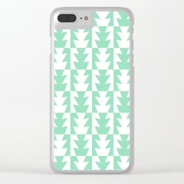 Art Deco Jagged Edge Pattern Mint Green Clear iPhone Case
