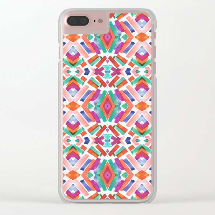 Watercolor Boho Dash 3 Clear iPhone Case