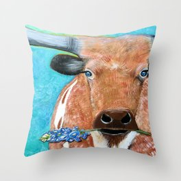 Longhorn with Bluebonnet Throw Pillow