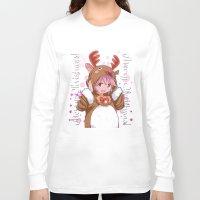 madoka magica Long Sleeve T-shirts featuring Xmas Madoka Magica by Neo Crystal Tokyo
