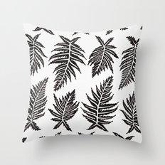 Inked Ferns – Black Palette Throw Pillow