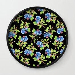 Wild Blueberry Sprigs Wall Clock